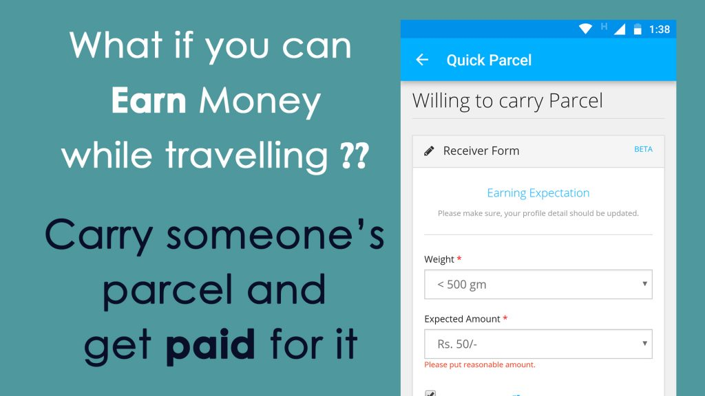 Images showing earn money while travelling feature in OMitra app