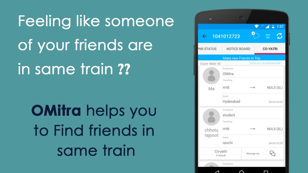 Image showing Find who is travelling with you feature in omitra app