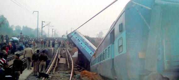 Kanpur: Rescue  and relief works in progress at the site of accident where  Ajmer-Sealdah express train derailed early morning  near Rura railway station in Kanpur dehat district on Wednesday. PTI Photo(PTI12_28_2016_000004B)