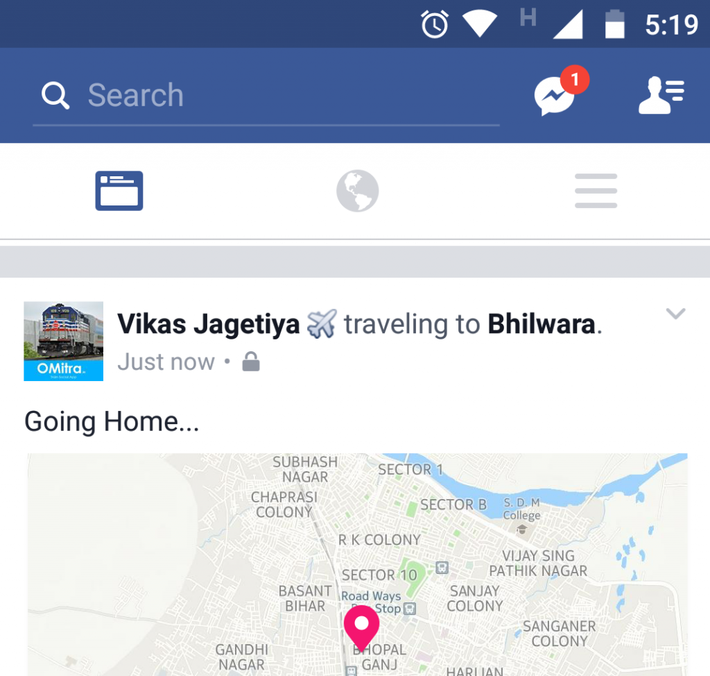 updating travelling status on facebook