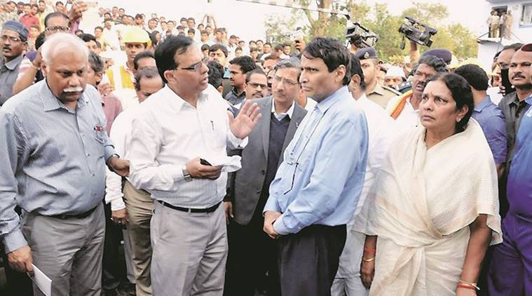 Railway Minister Suresh Prabhu at Hirakhand Express train accident site