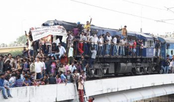 trains staging by tamilnadu students