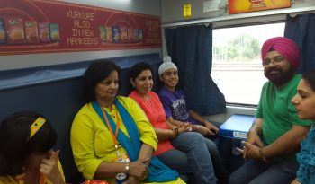 Family travelling train