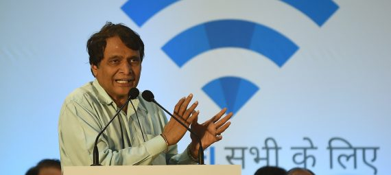Indian Railways Minister Suresh Prabhu speaks during the launch of a new free Wi-Fi Internet service in Mumbai's central railway station on January 22, 2016. Indian Railways' RailTel has announced the launch of free high-speed public Wi-Fi service, in partnership with Google, with plans to introduce the service to some 100 of the country's busiest stations by the end of 2016. AFP PHOTO / PUNIT PARANJPE / AFP / PUNIT PARANJPE        (Photo credit should read PUNIT PARANJPE/AFP/Getty Images)